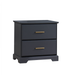Tayler Nightstand in Charcoal with gold antique handles