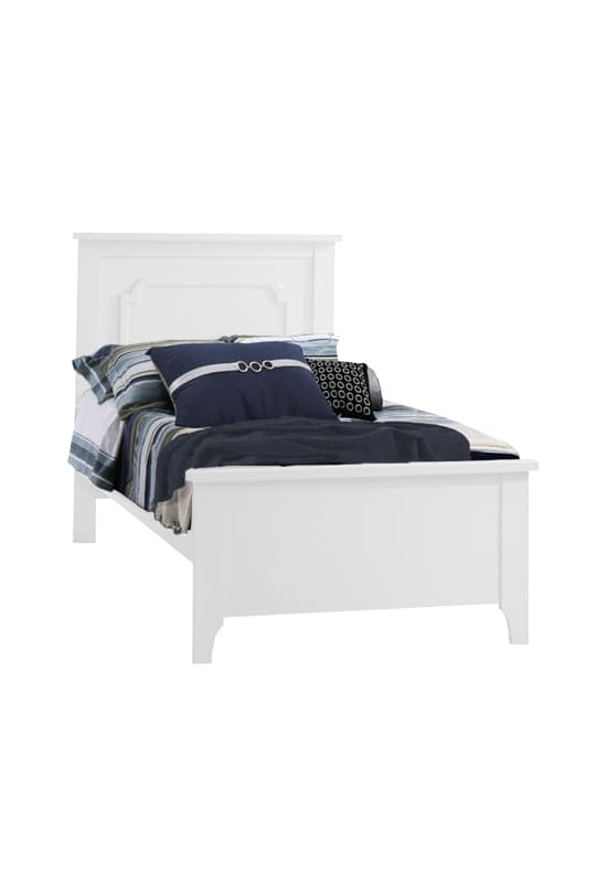 White classic twin bed with navy sheets