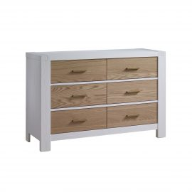 Rustico Moderno Double Dresser in White and Natural Oak with antique gold handles