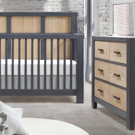 Rustico Moderno Collection - Convertible Crib and Double Dresser in Graphite and Natural Oak