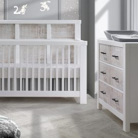 Rustico Moderno Collection - Convertible Crib and Double Dresser in White and White Bark