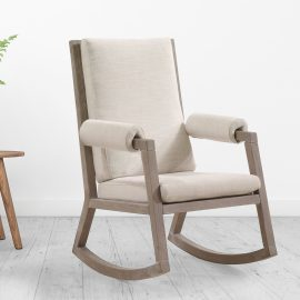 Senza Rocking chair with wooden frame and linen cushions in living room
