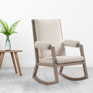 Senza Rocking chair with wooden frame and linen cushions