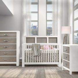 Baby room with baby sleeping in crib