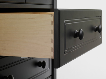 Black dresser with drawer open