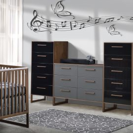 nursery dressers with dark brown wooden frames and grey and black facades
