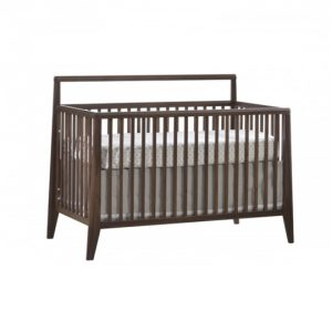 Dark wood and glossy white baby crib