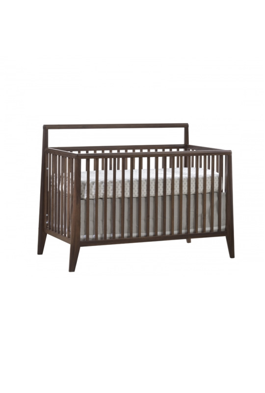 Dark wood and glossy white baby crib