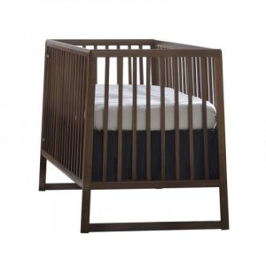 Dark walnut wood and black crib