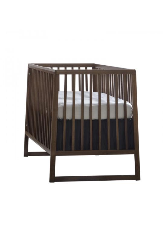 Dark walnut wood and black crib