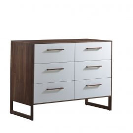 Double dresser with dark brown wooden frame and white facades