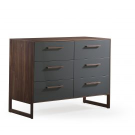 Double dresser with dark brown wooden frame and grey facades