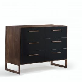 Double dresser with dark brown wooden frame and black facades