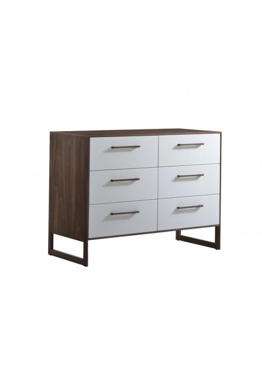 Double dresser in dark wood and white facades