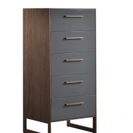 Five drawer dresser with dark brown wooden frame and grey facades