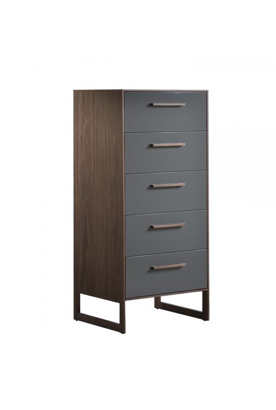 Tall 5 drawer dresser in dark wood and grey facades