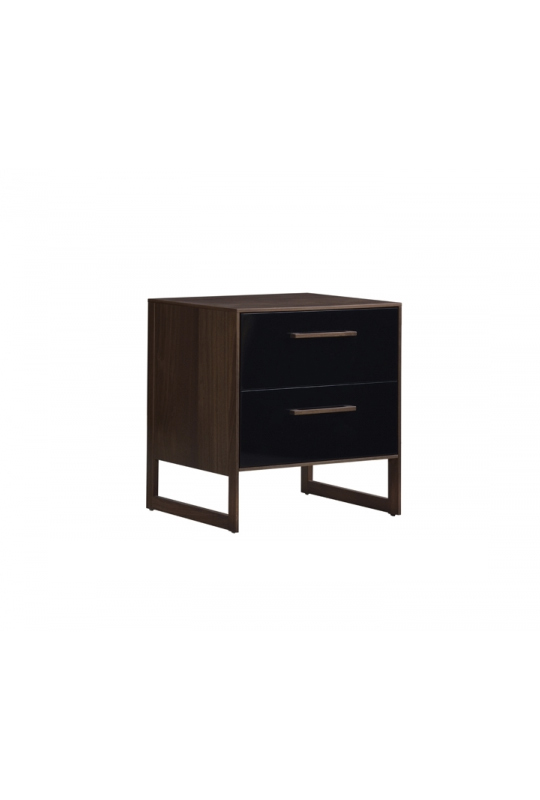Two drawer nighttable in dark wood and black facades