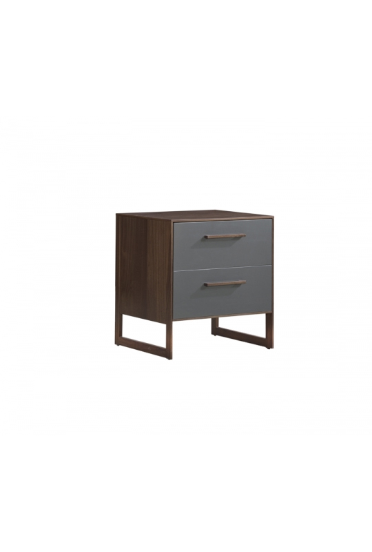 Two drawer nighttable in dark wood and grey facades