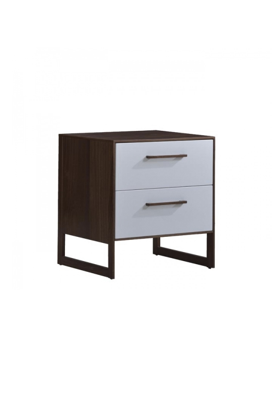Two drawer nighttable in dark wood and white facades