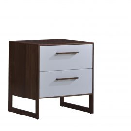 Two drawer nightstand with dark brown wooden frame and white facades