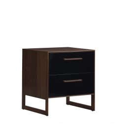 Two drawer nightstand with dark brown wooden frame and black facades