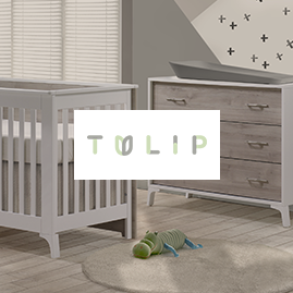 nursery image of crib and dresser with tulip brand logo