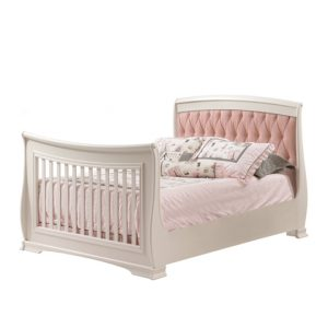 Bella double bed with blush pink updholstered panel