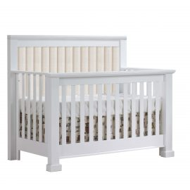 White crib with channel tufted headboard panel in talc