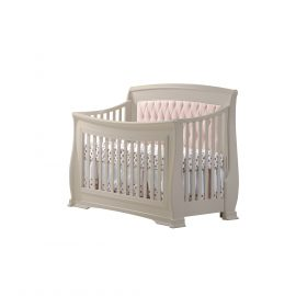 "Bella ""5-in-1"" Convertible Crib in Linen with Blush Headboard Panel"