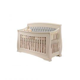 "Bella ""5-in-1"" Convertible Crib in Linen with Grey Headboard Panel"