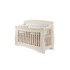 "Bella ""5-in-1"" Convertible Crib in Linen with White Headboard Panel"