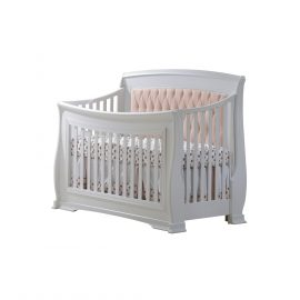 "Bella ""5-in-1"" Convertible Crib in White with Blush Headboard Panel"