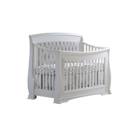 "Bella ""5-in-1"" Convertible Crib in White with Grey Headboard Panel"