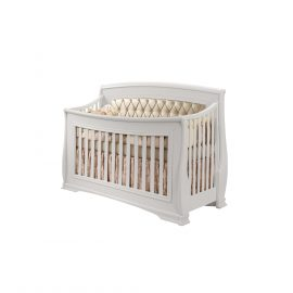 "Bella ""5-in-1"" Convertible Crib in White with Platinum Headboard Panel"