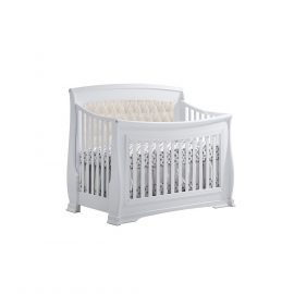 "Bella ""5-in-1"" Convertible Crib in White with Talc Headboard Panel"