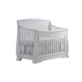 "Bella ""5-in-1"" Convertible Crib in White with White Headboard Panel"