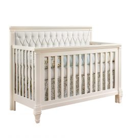 "Belmont ""5-in-1"" Convertible Crib in White with Upholstered Headboard Panel in White"