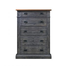 Cortina 5 Drawer Dresser in Black Chalet and Cognac