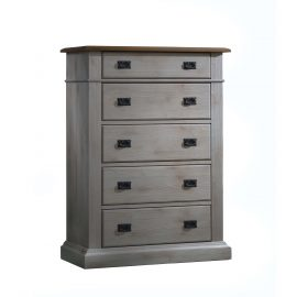 Cortina 5 Drawer Dresser in Grey Chalet and Cognac