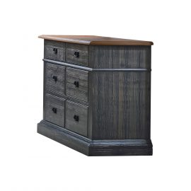 Cortina Double Dresser in Black Chalet and Cognac