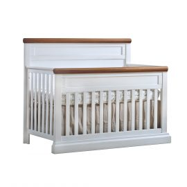 "Cortina ""5-in-1"" Convertible Crib in white and cognac"
