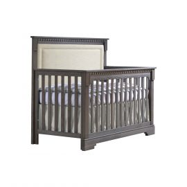 "Ithaca ""5-in-1"" Convertible Crib in Grigio with Talc Linen Weave Upholstered Panel"