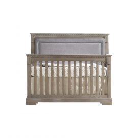 "Ithaca ""5-in-1"" Convertible Crib in Owl with Fog Linen Weave Upholstered Panel"