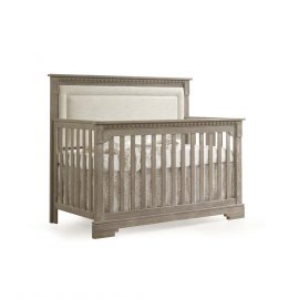 "Ithaca ""5-in-1"" Convertible Crib in Sugar Cane with Talc Linen Weave Upholstered Panel"