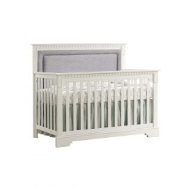 "Ithaca ""5-in-1"" Convertible Crib in White with Fog Linen Weave Upholstered Panel"