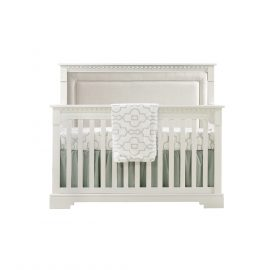 "Ithaca ""5-in-1"" Convertible Crib in White with Talc Linen Weave Panel"