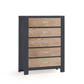 Rustico Moderno 5 Drawer Dresser in Graphite and Natural Oak
