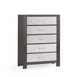 Rustico Moderno 5 Drawer Dresser in Grigio and White Bark