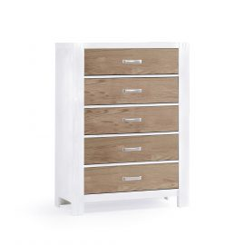 Rustico Moderno 5 Drawer Dresser in White and Natural Oak