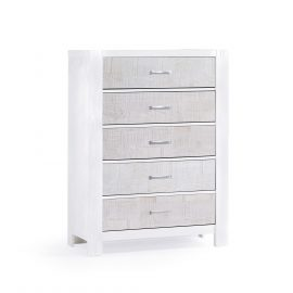 Rustico Moderno 5 Drawer Dresser in White and White Bark